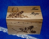 Wedding Recipe Box Wood Burned Recipe Card Box Custom Rustic Wooden Recipe Box Personalized Wood Box Wine Roses Decorative