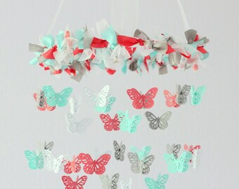 Coral Aqua Nursery Butterfly Mobile for Baby Girl Baby Boy Nursery Mobile Room Decor