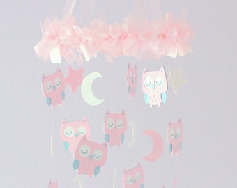 Owl Nursery Mobile in Pink, White & Blue- Baby Mobile, Baby Shower Gift