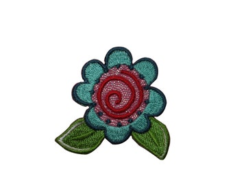 ID #6573 Blue Flower Blossom Red Swirl Iron On Embroidered Patch Applique