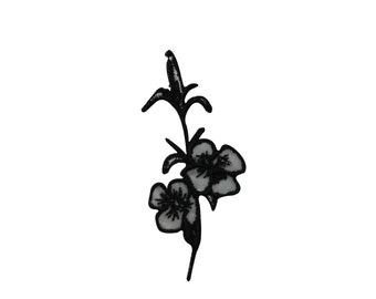 ID #6825 Black and White Blossoming Flower Iron On Embroidered Patch Applique