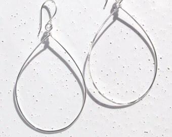 Sterling Silver Large Teardrop Earrings, Hammered Silver Teardrop Earrings