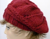 Mans or Womans Hand Knit Star Pattern Slouch Hat Beret  Color: Wine (H-134)
