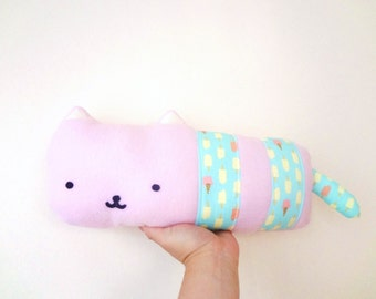FREE US SHIPPING! Sausage Cat- pink kitty stuffed toy with ice cream stripes// kawaii kitty cat kitten plush stuffed animal toy pillow