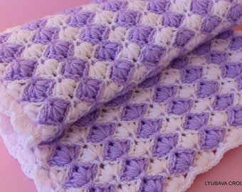 Crochet Baby Blanket PATTERN Lilac Lily, Crochet Puff Stitch Flower Tutorial, Baby Shower DIY Gift Instant Download Lyubava Pattern PDF No.4