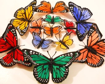 3 Monarch Butterfly Hair Bobby Clip Small in Colors of Orange Red Yellow Violet Green for Wedding Bride Flower Girl Woodland Fairy Houses