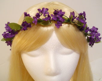 Flower Crown, Head Wreath, Small Purple Flower, Weddings, Flower Girl, Bride, Mardi Gras, Spring, Festivals, Bohemian, Halo, Pixie, Garland