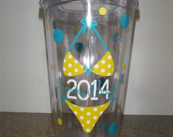 Personalized Spring Break Bikini 16oz Clear Acrylic Tumbler with Straw