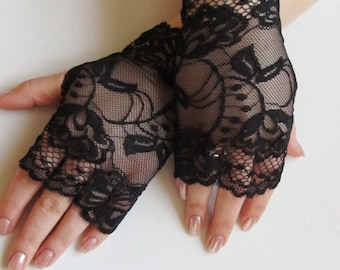 Lace Black Fingerless gloves,Black Stretch Lace Short Gloves