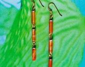 Carnelian Earrings/ dainty jewelry/ Pyrite/ august birthstone/ long earrings/ beach wedding/ carnelian jewelry