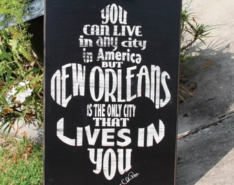 """30""""x48"""" New Orleans Live in You fleur de lis distressed handmade wood sign"""