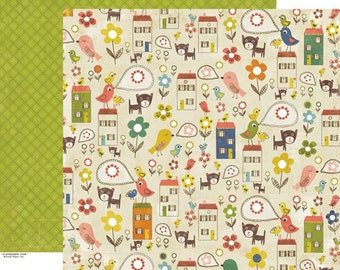 Scrapbook Paper 4 Sheets Crate Neighborhood Collection Block Party 12x12
