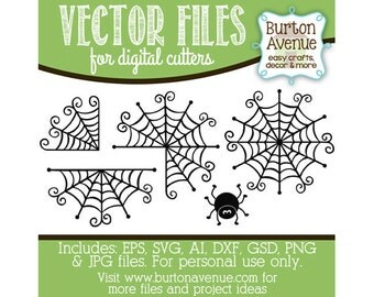 Spider & Web Set Vector Digital Cut File (eps,svg, gsd,dxf, ai, jpg, png)