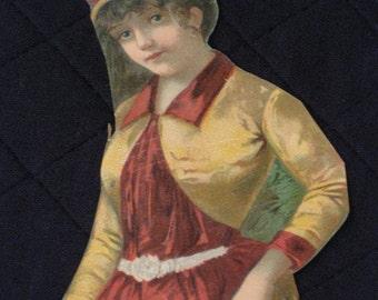 Antique Victorian Scrap Litho Chromo - Large Size - Woman in Riding Habit - Vintage Paper Ephemera