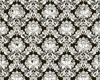 Andrea Victoria Damask Black Fat Quarter Cut - Riley Blake Designs-Cotton Fabric-Black