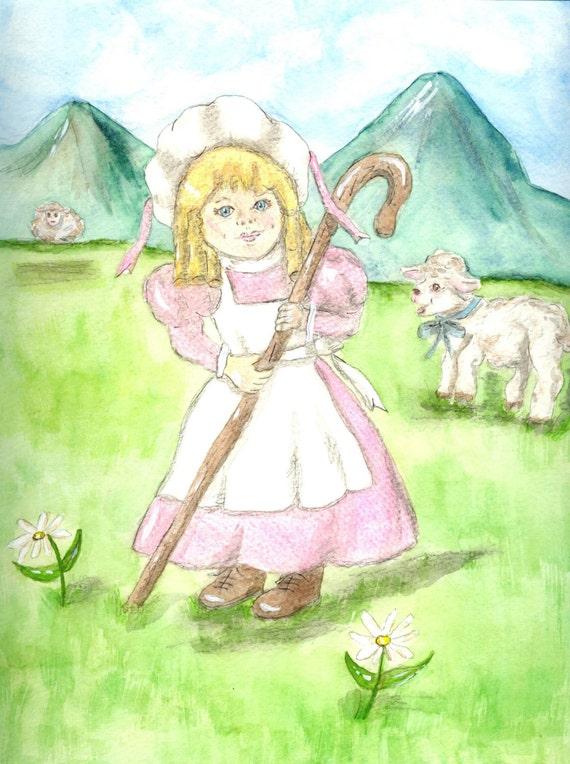 Little Bo Peep Matted Fine Art Print of Original Watercolor Painting Nursery Rhyme Character Kid's Home Decor