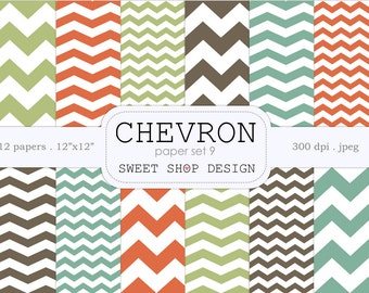 Digital Paper, Printable Scrapbook Paper Pack, Chevron N09, 12x12, Orange, Green, Blue, Brown, Set of 12 Papers