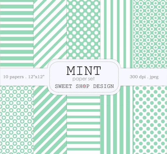 Digital Paper: MINT, Printable Scrapbook Paper Pack, 12x12,  Mint, Stripes, Polka Dots, Set of 10 Papers