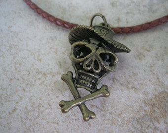 Skull Necklace, Skull & Cross Bones Leather Necklace, Skull Jewelry