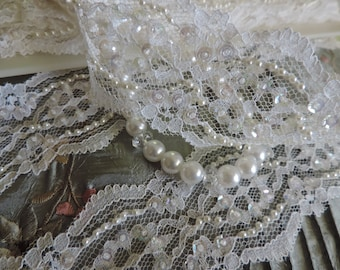 "Vintage Victorian French White Beaded Sequined Scalloped Net Floral Embroidered Lace Trim 3 1/2"" Wide Bridal Wedding/ Embellishment Trim"