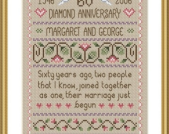 INSTANT DOWNLOAD Diamond Wedding Cross Stitch Sampler PDF Chart