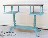 SALE Sofa Table Plant Stand Accent Table Vintage Hand Painted Turquoise Distressed