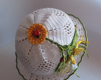 Hat Brim  in White with Yellow Butterfly Summer Cotton