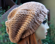 Hand Knit, 100 Percent Organic Cotton, Light Brown, Tan, Over Sized, Slouchy, Beanie Hat Woman Man Spring Summer Fall Winter Back to School