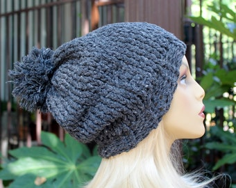 Hand Knit, Dark, Charcoal Grey, Polyester/Acrylic, Slouchy, Beanie Hat with Large, Shaggy Pom Pom Man Woman Fall Winter Back to School