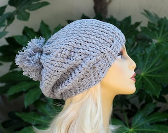 Hand Knit, Light, Blue Grey, 100 Percent Cotton, Slouchy, Beanie Hat with Large, Shaggy Pom Pom, for Men or Women Back to School