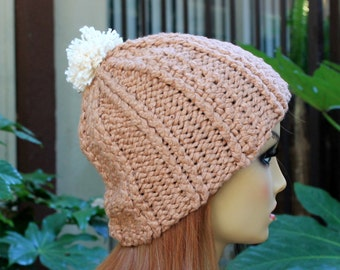 Hand Knit, 100 Percent Organic Cotton, Light Brown, Tan, Rib Knit,  Beanie Hat with Small, Shaggy, Cream Pom Pom Woman Man Back to School