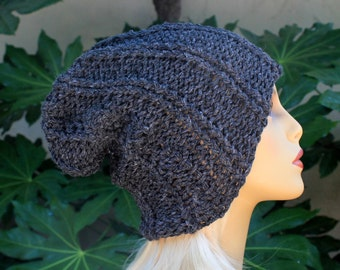 Hand Knit, Acrylic/Polyester, Charcoal Grey, Slouchy, Rib Knit Beanie Hat for Women or Men, Fall, Winter, Back to School