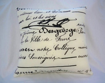 French Script Pillow, Cream and Black, French Country, Shabby Cottage Decor, Cottage Pillow, French Cushion, Throw Pillow, Accent Pillow