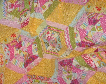 Handmade hexagon quilt in tropical colors: lap quilt or baby quilt