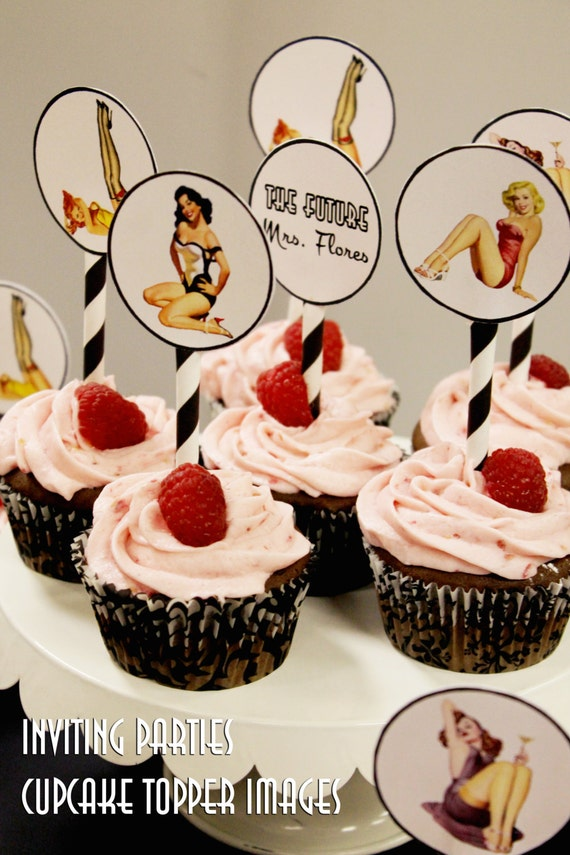Pin Up Girl cupcake topper images- Bachelorette party, Hens night, Lingerie Shower, Birthday invite diy print file PRINT YOUR OWN