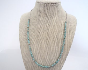 Turquoise Silver Tiny Simple Single Strand Silver Necklace Chain unique gift  fashion under 30