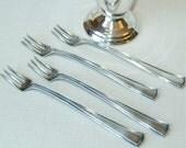 Vintage Set of Four Silver Olive Forks with Vase Holder Cup Goblet