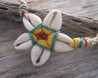 Rasta Cowrie Shell Necklace,  Flower Necklace, Hemp Macrame Necklace, Adjustable, READY To SHIP