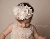 Baby Girl Headband- Dollcake Headband- Flower Girl Headband- Baby Headbands- Baby Headband-Ivory Headbands-Tan Headband