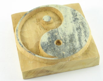 """Yin Yang Handcarved Tibetan Buddhist Chinese Wood Block Stamp, Handmade in Nepal, for Fabric or Paper Stamping, 3"""" image size"""