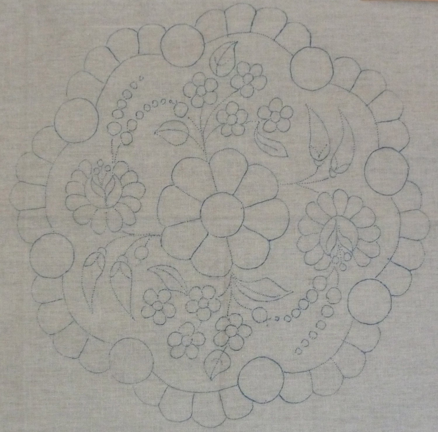 hungarian stamped embroidery pattern  kalocsa style doily for