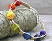 Rainbow Macrame hemp sterling silver bracelet eco friendly handmade paper beads