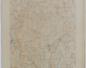 Antique MASSACHUSETTS Greenfield, VERMONT & Surrounding Areas Rare US Geological Survey Fine Topographic Map