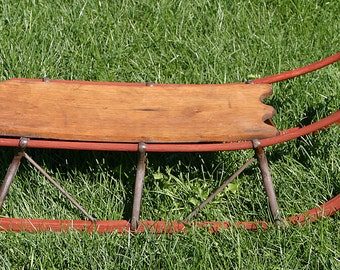 Antique VERMONT 1800s Farmstead Primitive Folk Handmade Wooden Snow Sleigh Sled w/ All Original Metal Runners