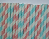 50 Light Blue and Light Pink Striped Paper Straws- Gender Reveal Strips, Pastel Straw- Baby Shower Decorations- Wedding, Bridal Shower