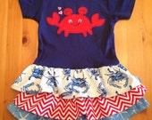 Girls ruffle dress sweet crab, chevron and starfish red, white, blue 9 month