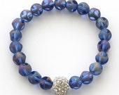 Iridescent Purple Glass Crystal Pave Bracelet