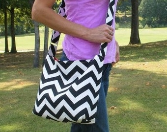 SMALL CHEVRON stripe zigzag Handbag/ Diaper Bag/ Purse/ Tote/ Beach Bag with Messenger Style Adjustable Strap