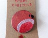 Enamel Christmas Robin Brooch