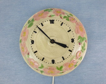 1940's Electric Wall Clock / Hand Painted Bisque / Dogwood Floral Design